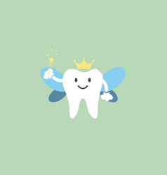 cute healthy white teeth is tooth fairy vector image