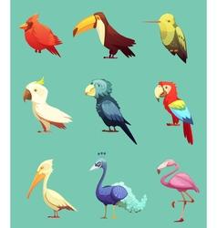Exotic Tropical Birds Retro Icons Set vector image vector image