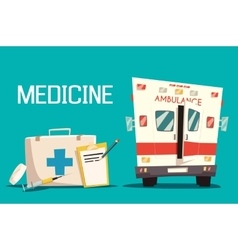 First aid kit and ambulance car syringe pill vector image