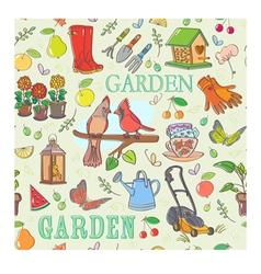 Gardening set seamless pattern vector image