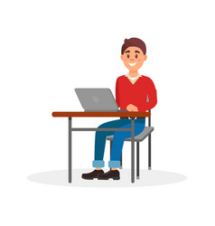 young smiling man working on laptop computer at vector image