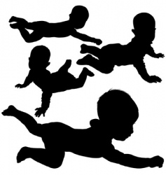 baby silhouettes vector image