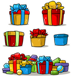 cartoon colored presents and different gift boxes vector image