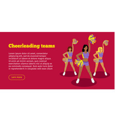 cheerleading teams web banner girls with pompoms vector image vector image