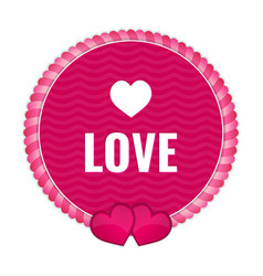circle pink tag with ornaments and hearts vector image vector image