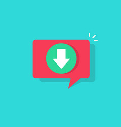 download icon in bubble push notification vector image vector image