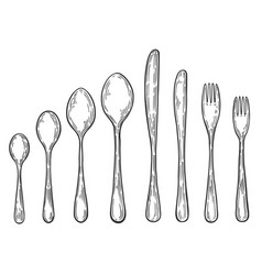 hand drawn fork vector image