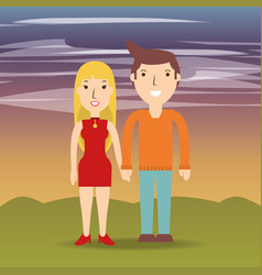 happy couple lover with romantic relationship vector image vector image