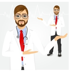 male hipster doctor showing something vector image