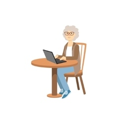 Old Woman Working On Lap Top vector image