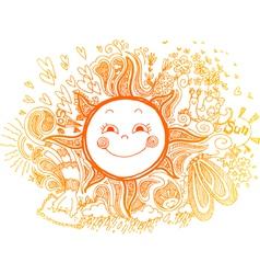 Sketchy doodle of orange sun vector