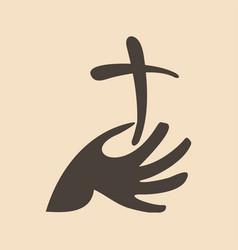 The cross of jesus in hand vector