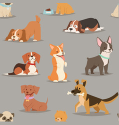 different dogs breed cute puppy characters vector image