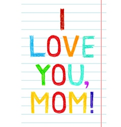 Phrase I LOVE YOU MOM child writing style on lined vector image