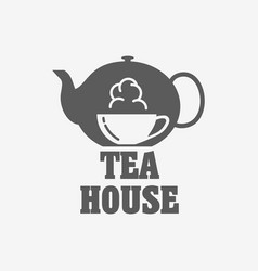 tea house logo or label design template with tea vector image vector image