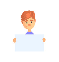 young boy holding blank paper isolated on white vector image