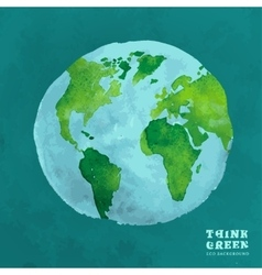 01 globe watercolor eco concept vector