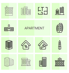 14 apartment icons vector