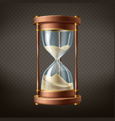 3d realistic hourglass with running sand vector image