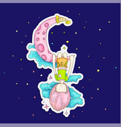 A little girl sleeping and dreaming hanging vector