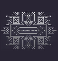 abstract monogram geometric frame vintage vector image