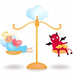 Angel and demon on the balance vector