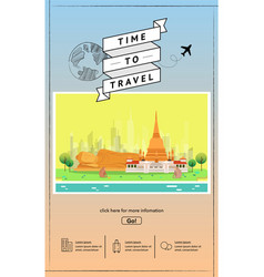 Attraction landmarks in thailand website template vector