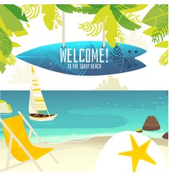 beach banner with yacht chair and surfboard sign vector image