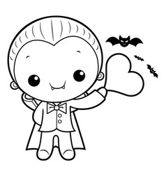 black and white cartoon dracula mascot is holding vector image