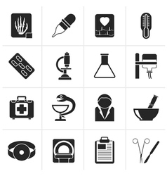 Black Healthcare and Medicine icons vector image vector image