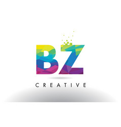 Bz b z colorful letter origami triangles design vector