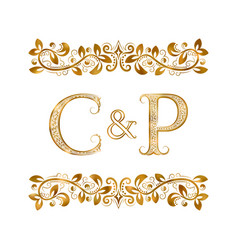 C and p vintage initials logo symbol the letters vector