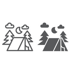 Camping line and glyph icon nature and hiking vector