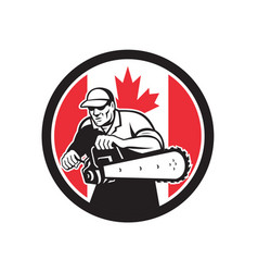 Canadian tree surgeon chainsaw canada flag vector