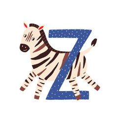 Capital letter z childish english alphabet vector