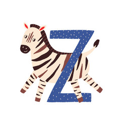 Capital letter z childish english alphabet with vector
