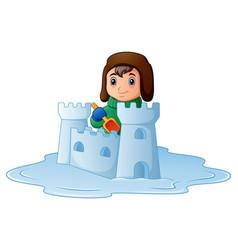 cartoon boy building a snow fortress vector image