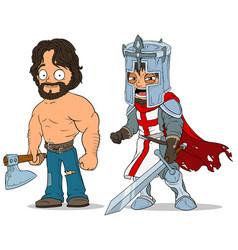 cartoon knight and lumberjack characters set vector image