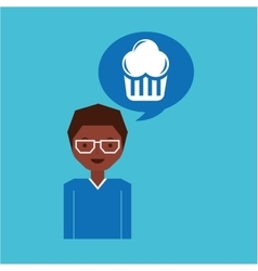 Cartoon man cupcake dessert design icon vector