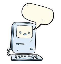 Cartoon old computer with speech bubble vector