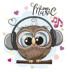 Cartoon owl with headphones on a white background vector