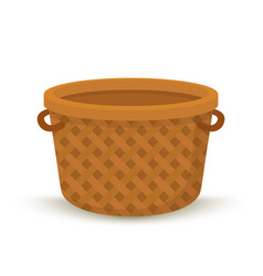 Cartoon wicker basket container for picnic vector