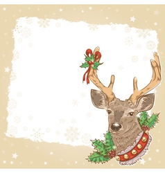 Christmas vintage postcard with Santa deer vector image