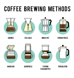Coffee brewing methods icons set Different ways vector