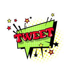 Comic speech chat bubble pop art style tweet vector