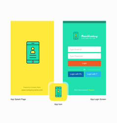 Company user profile splash screen and login page vector