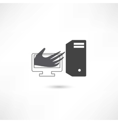 Computer help hand vector image