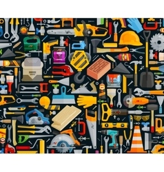 Construction and repair working tools set color vector