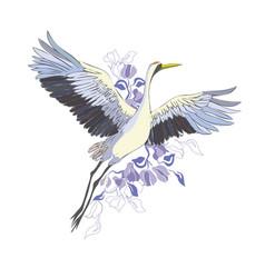 Crane a bird in flight design element vector