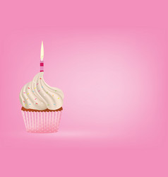 Cupcake with candle on pink background vector